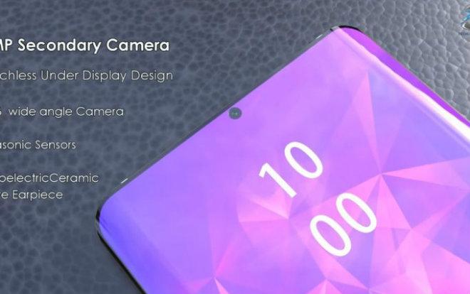 Samsung Galaxy S10 Plus tràn viền với camera tự sướng ở phía trước.