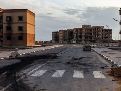 Quang cảnh hoang tàn tại Libya.