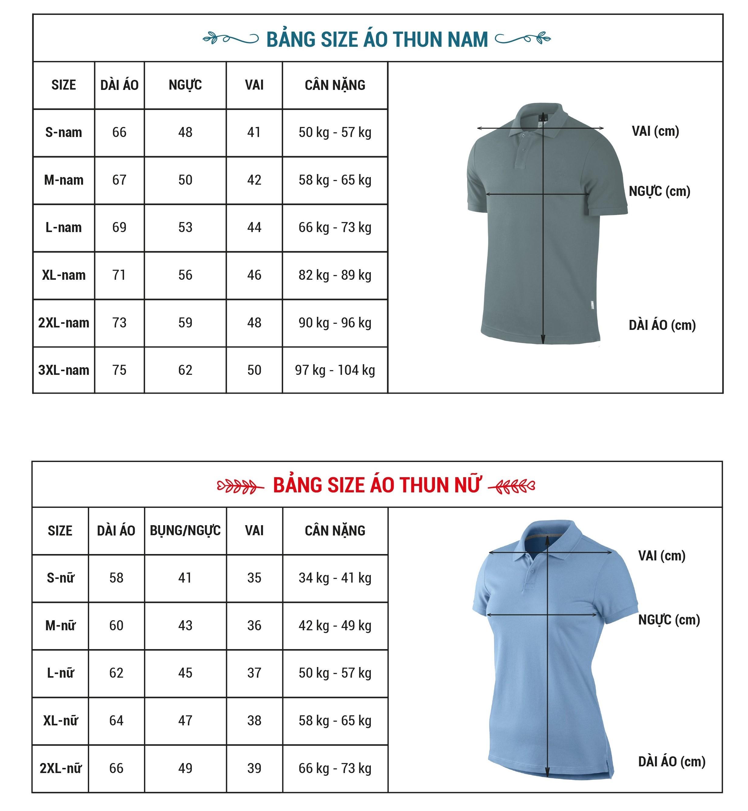Chọn size áo thun đồng phục lớp dựa trên thông số size
