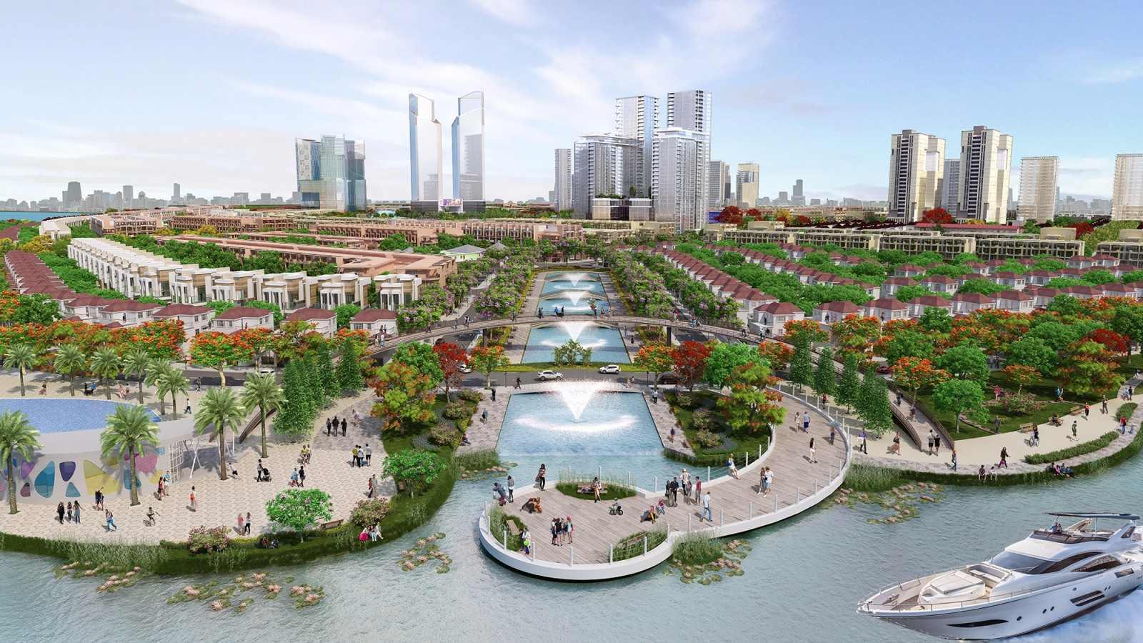 khu đô thị sinh thái với sông, vườn