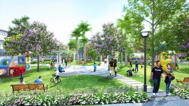 vườn cây xanh trong khu đô thị