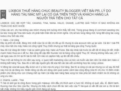 Thực hư phốt Lixibox lừa đảothuê các beauty blogger nổi tiếng viết bài PR