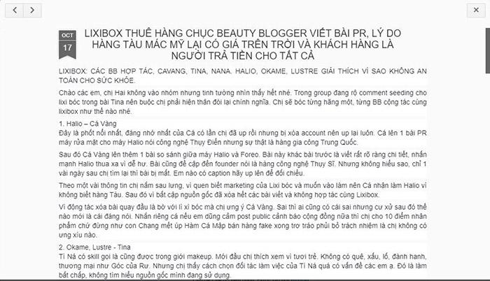 Thực hư Lixibox thuê các beauty blogger nổi tiếng viết bài PR