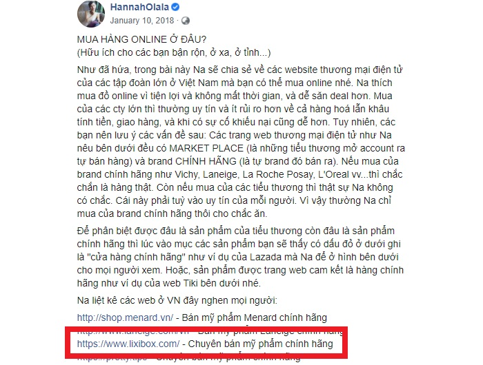 Chia sẻ của Hannah Olala về trang mua hàng chất lượng lixibox